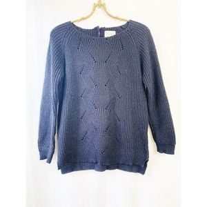 Zara knit navy and silver pullover sweater